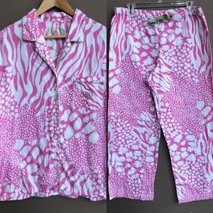 VS Animal Zebra Pink White Flannel Pajama Set Med